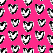 Pink hearts cute trendy seamless pattern with texture. Applicable for paper or textile print, web and other backgrounds.