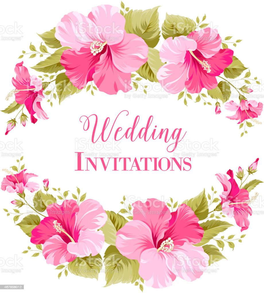 Pink Hibiscus Flowers Framing The Words Wedding Invitations Stock