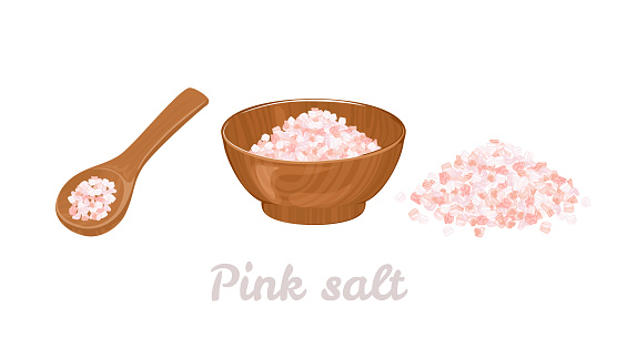 Pink Himalayan salt in wooden bowl, spoon and heap of salt isolated on white. Vector illustration of organic spice in cartoon flat style.