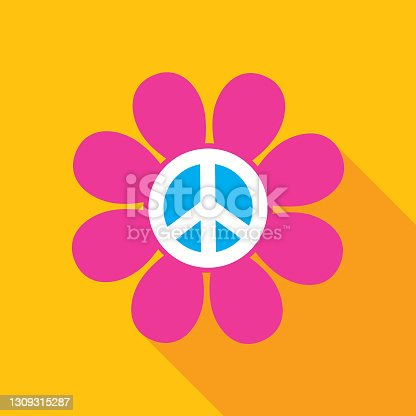 Vector illustration of a hot pink hippie flower with a shadow on a gold colored background.