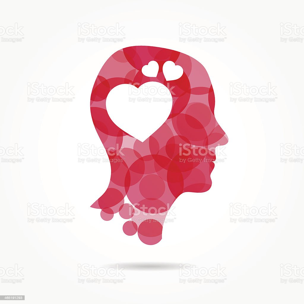 Pink human head filled with hearts vector art illustration