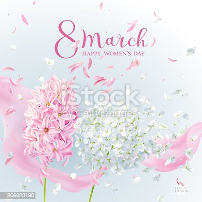 istock Pink Hyacinth flower and white Hydrangea flower for 8 March vector greeting card 1206023190