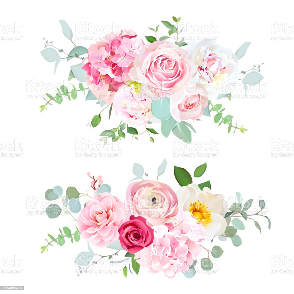 Pink hydrangea, red rose, white peony, camellia, ranunculus, euc