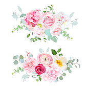 Pink hydrangea, red rose, white peony, camellia, ranunculus, eucalyptus and greenery vector design horizontal bouquets.Spring wedding flowers. Floral banner. All elements are isolated and editable