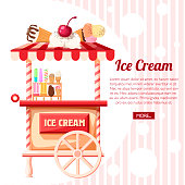 Pink ice cream cart. Retro trolley. Stand of ice creams, sweet cart. Vector illustration on background with line texture. Place for your text. Website page and mobile app design