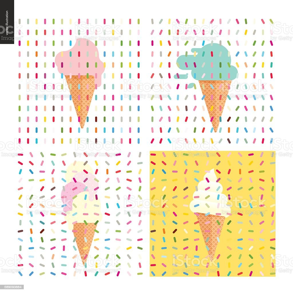 Pink Ice cream in a cone and pattern vector art illustration