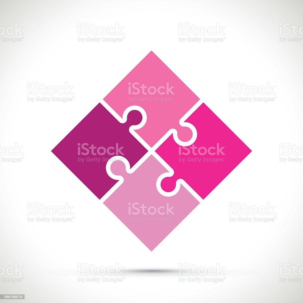 pink jigsaw pieces vector art illustration