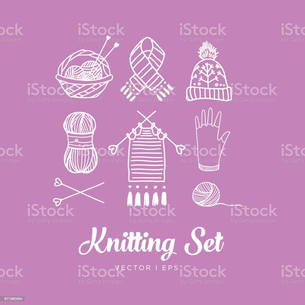 Pink knitting set. Contains hand drawn vector editable images of the clew, the yarn, the knitting needles, the thread, the basket, the knit work, the hat, the glove, the scarf and a needle. vector art illustration
