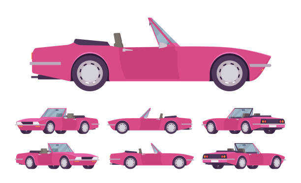 Pink lady cabriolet cat set Pink lady cabriolet cat set. Roadsters passenger vehicle with roof folds down, convertible top, two seats, luxury design city auto to enjoy a travel and journey. Vector flat style cartoon illustration convertible stock illustrations