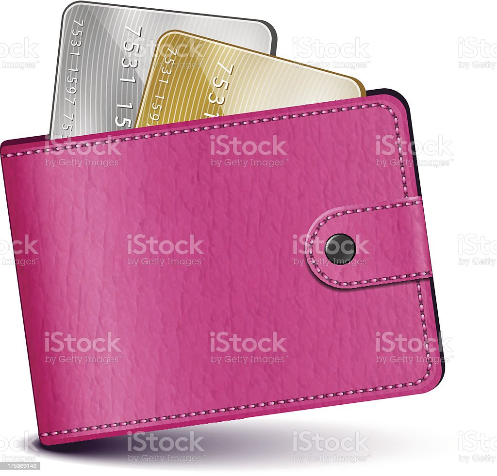 Pink leather wallet royalty-free stock vector art