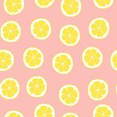 istock Pink lemon pattern. Citrus vector seamless background. Hand drawn citric fruit slice illustration. 1316670804