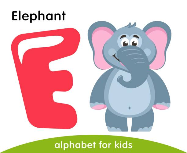 Pink Letter E And Gray Elephant Vector Art Illustration