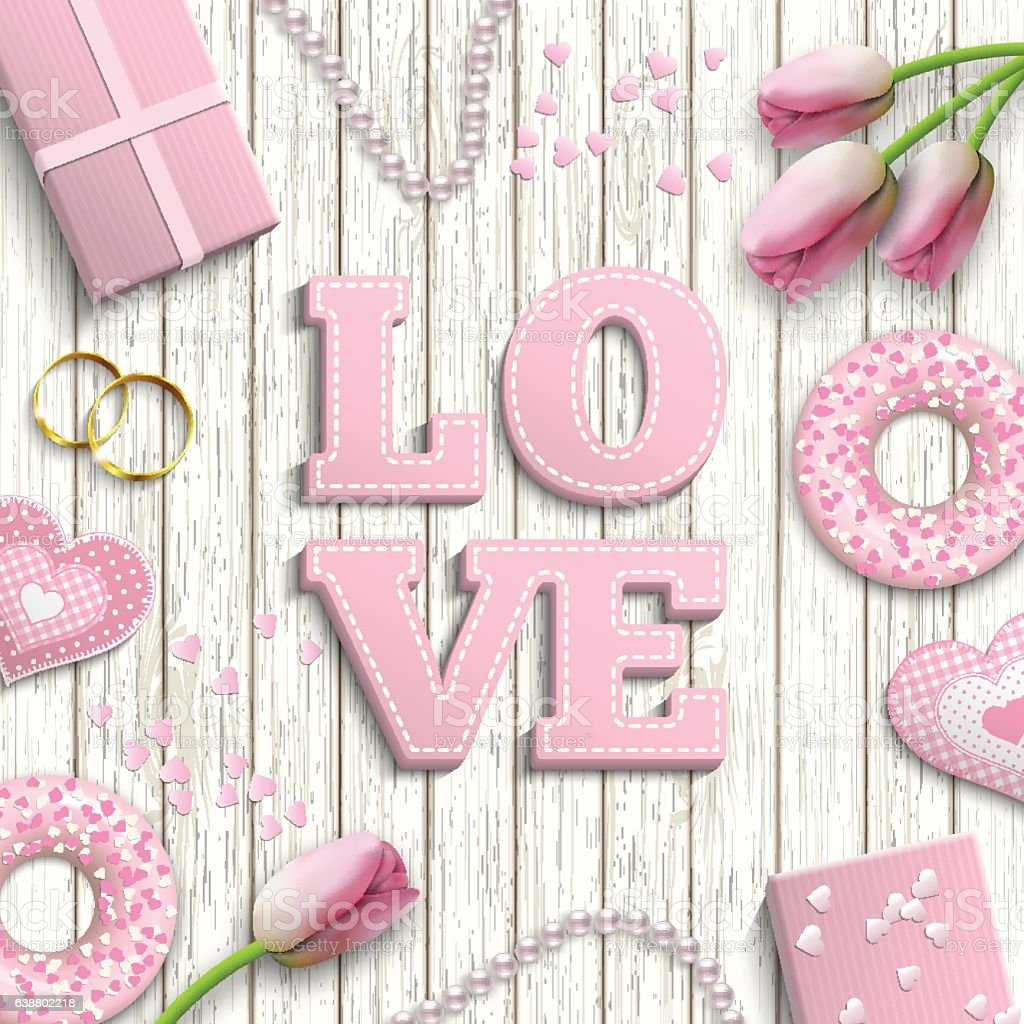 Pink Letters Love Romantic Motive Inspired By Flat Lay Style Stock ...