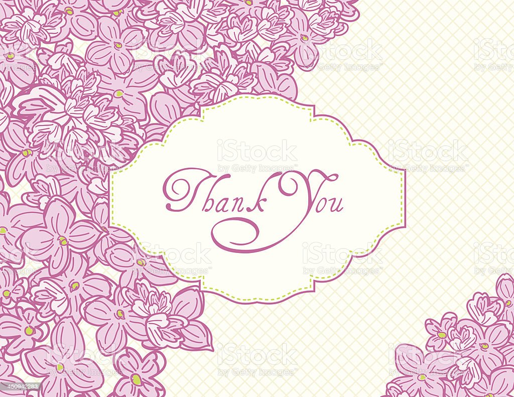 Pink Lilacs Thank You Card royalty-free pink lilacs thank you card stock vector art & more images of calligraphy