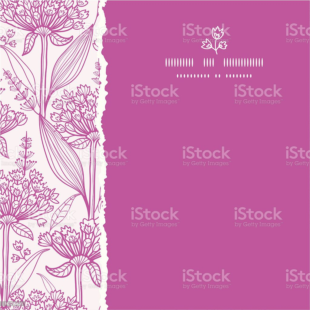 Pink lillies lineart square torn seamless pattern background royalty-free stock vector art
