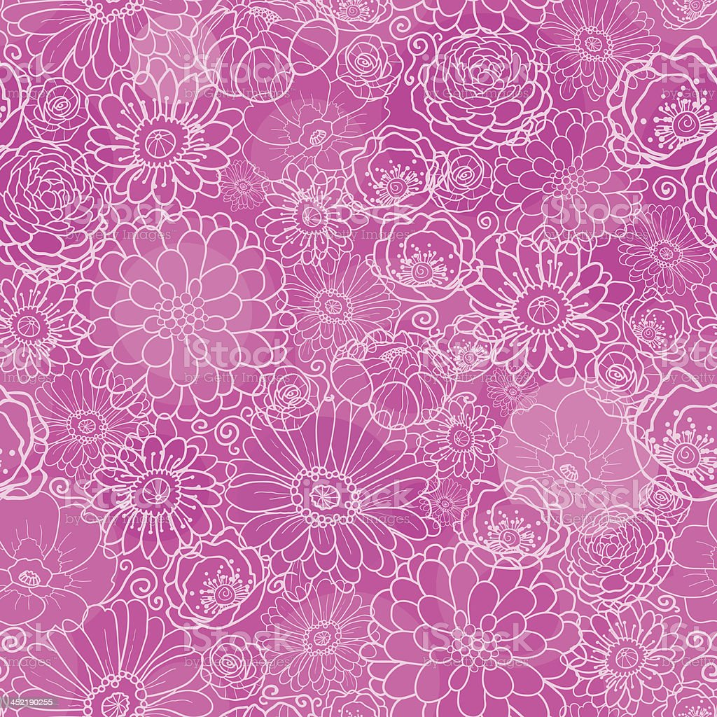 Pink lineart floral texture seamless pattern background royalty-free stock vector art