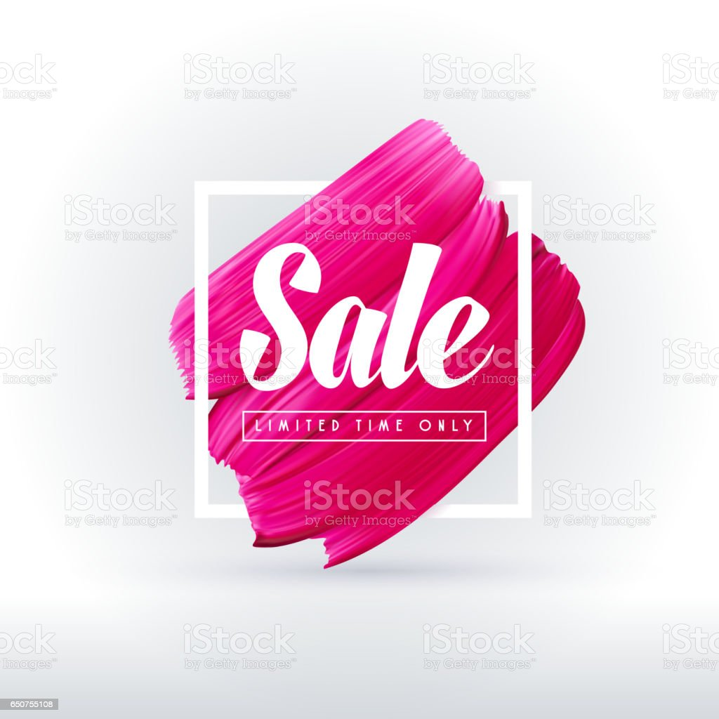 Pink lipstick sale in frame isolated on white background векторная иллюстрация