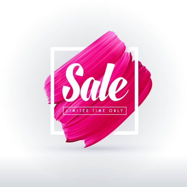 bildbanksillustrationer, clip art samt tecknat material och ikoner med rosa läppstift försäljning i ram isolerad på vit bakgrund - makeup artist