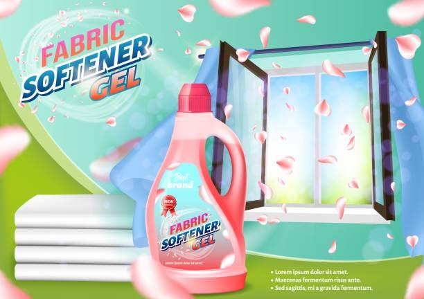 rosa flüssigkeit flasche auf offenefenster hintergrund. - weichspüler stock-grafiken, -clipart, -cartoons und -symbole