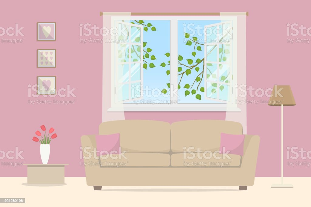 Pink Living Room Beige Sofa With Pillows On An Open Window ...