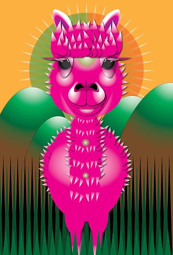 Pink llama illustration