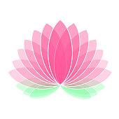 Pink Lotus Flower Icon Logo on White Background Illustration