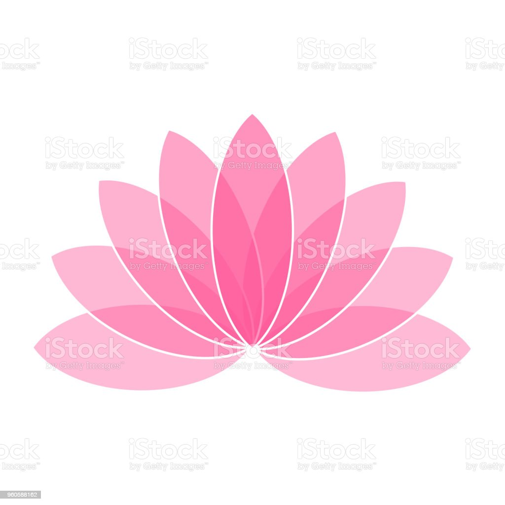 Pink Lotus Flower Icon On White Background Illustration Stock Vector