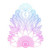 Spiritual symbol, ornamental pink blue lotus flowers and leaves, ethnic Indian art. Hand drawn decorative isolated element for tattoo, yoga, boho clothes design.
