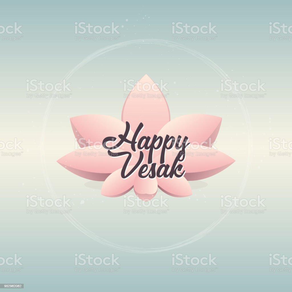 Pink Lotus Flower On Gradient Blue Background Vector Illustration