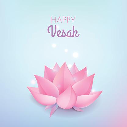 Pink lotus flower on pastel blue background. Vector illustration card for Vesak day.
