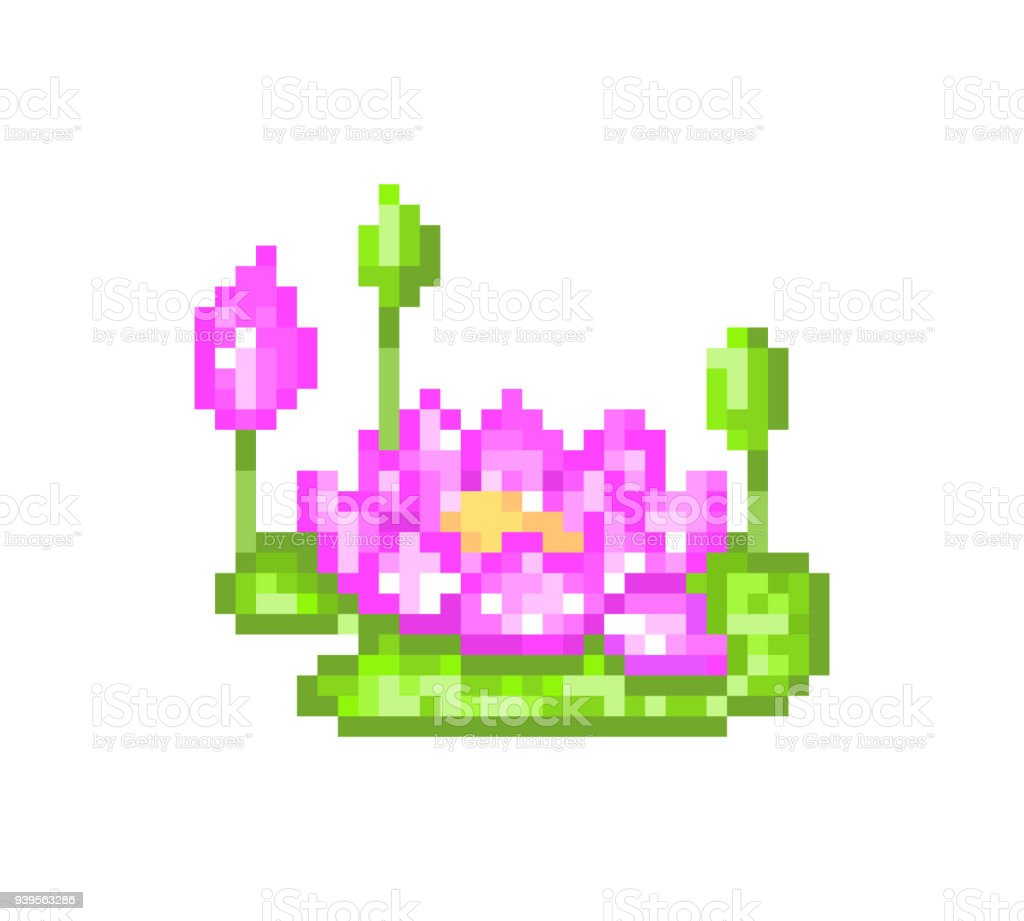 Vetores De Flor De Lótus Rosa Com Botões ícone De Arte Pixel