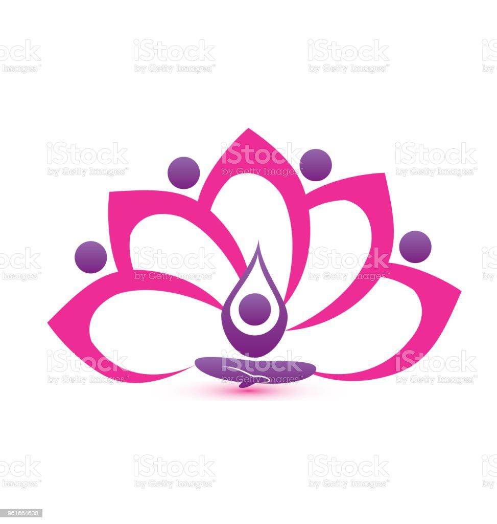 Pink Lotus Flower Yoga Symbol Icon Id Card Vector Image Stock Vector