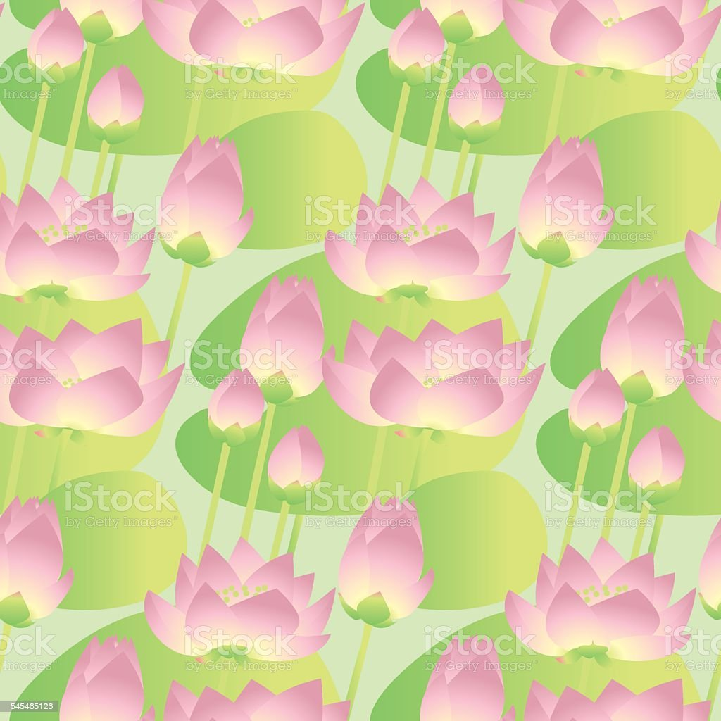 pink lotus lilies decorative floral seamless pattern. vector ill vector art illustration