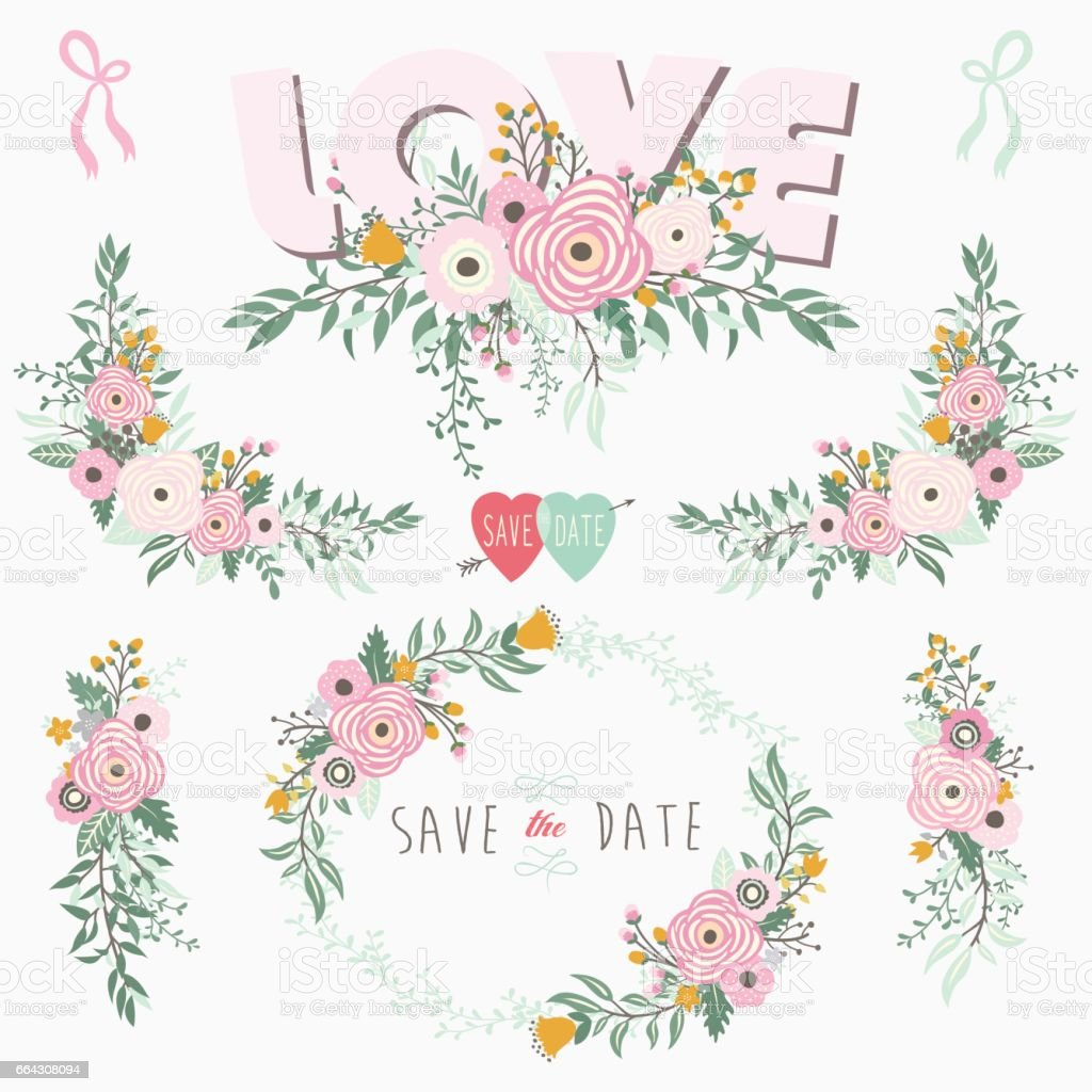 Pink Love Floral Elements vector art illustration