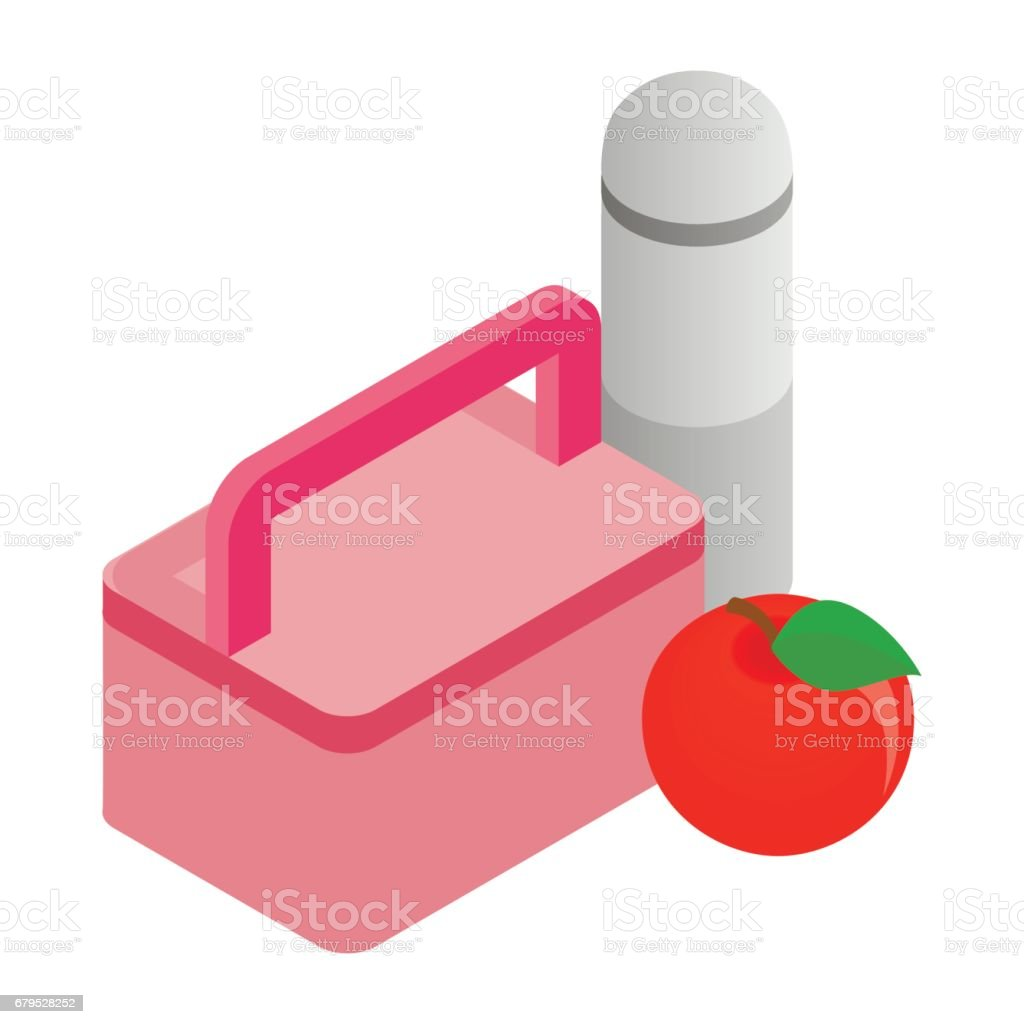 Pink lunch box, red apple and thermos icon vector art illustration