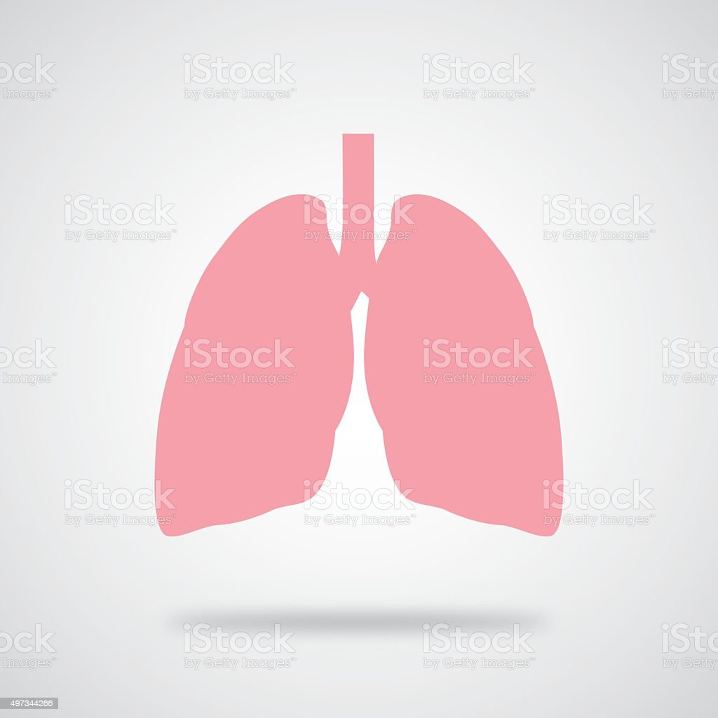 Pink Lungs Icon vector art illustration