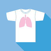Vector illustration of a white t-shirt with pink lungs on it on a square blue background.
