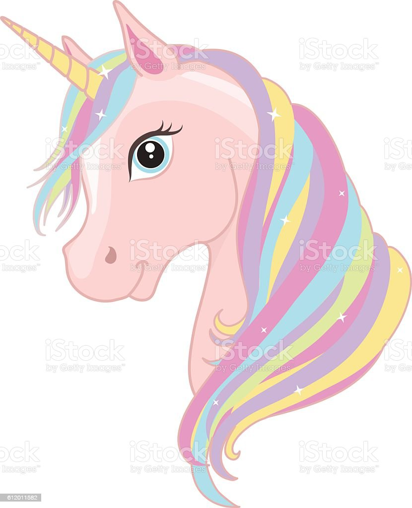 Pink magic unicorn head with rainbow mane. Vector illustration. vector art illustration