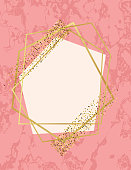 Pink Marble Background With Gold Deco Geometric Frames
