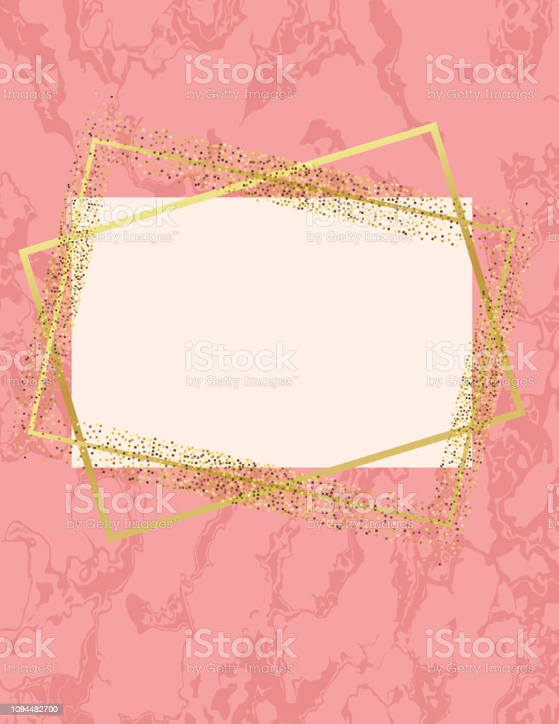 Pink Marble Background With Gold Deco Geometric Frames Stock Illustration Download Image Now Istock