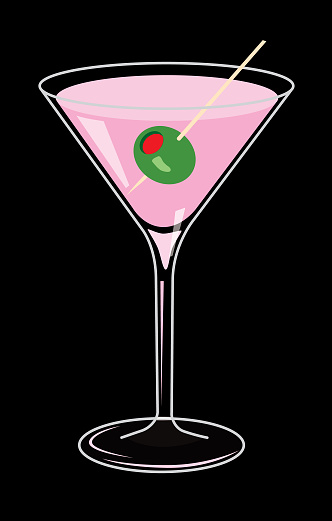 Vector illustration of a pink martini drink on a black background.