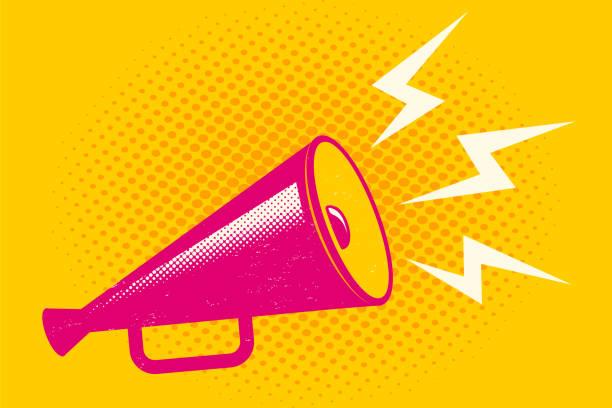 rosa megaphon auf halbton-hintergrund - megaphone stock-grafiken, -clipart, -cartoons und -symbole