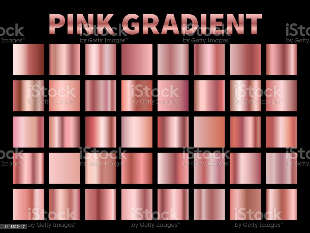 Pink metallic gradients. Golden rose gradient foil, shiny roses...