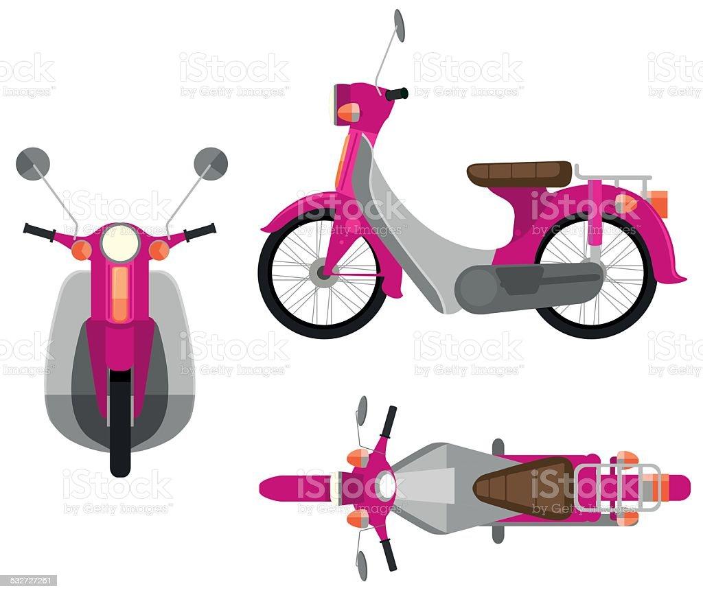 Pink motor vehicle vector art illustration
