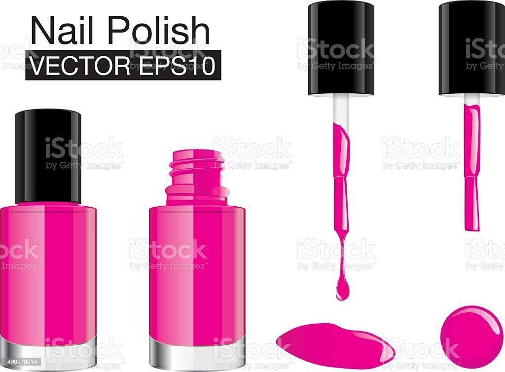 Pink nail polish vector set vector art illustration