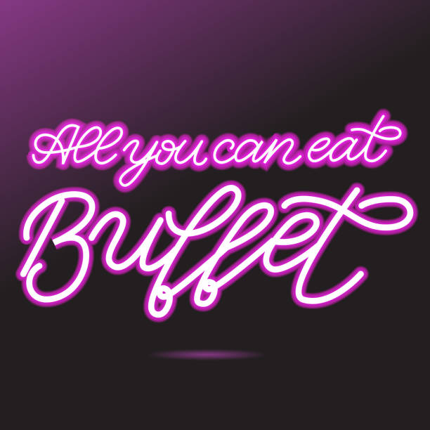 Pink neon glow handwritten All you can eat Buffet lettering vector illustration. Logo, sign vector art illustration