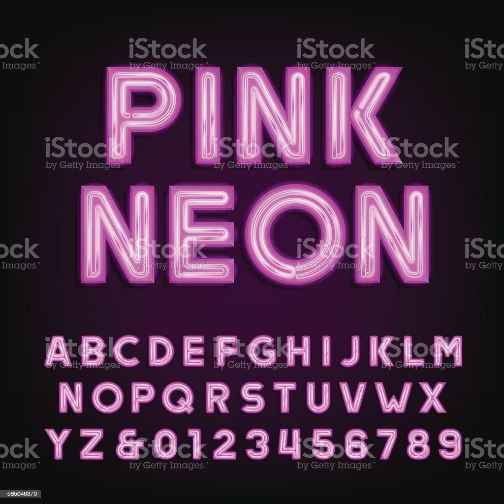Pink neon tube alphabet font. vector art illustration