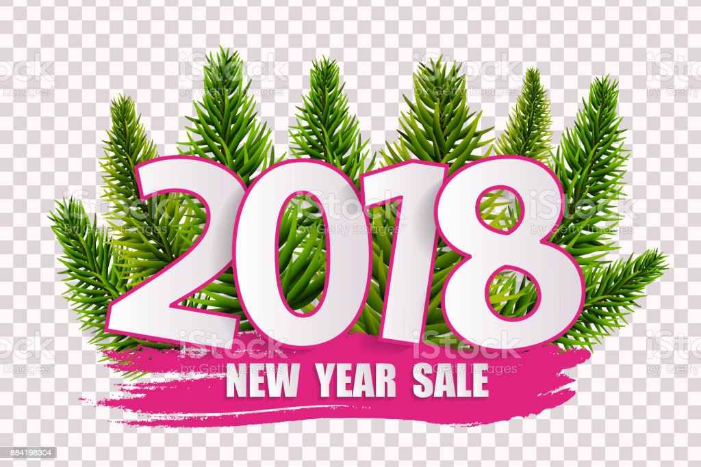 pink new year sale 2018 concept isolated on transparent background vector illustration royalty free
