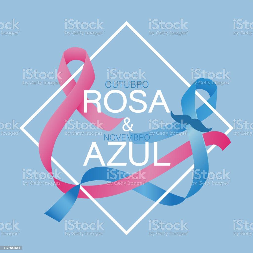 Outubro cor-de-rosa e novembro azul no vetor Português - Vetor de Azul royalty-free
