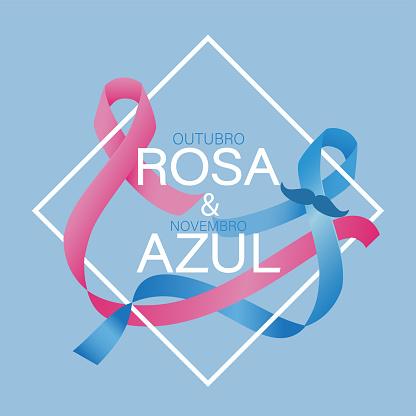Vetores de Outubro Corderosa E Novembro Azul No Vetor Português e mais imagens de Azul